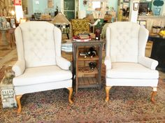 Someday I will have my wingback chairs reupholstered to look like this!