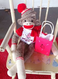 Pompon Hat Sock Monkey with Mystery Grab Bag by Sillysockmonkeys, $35.00