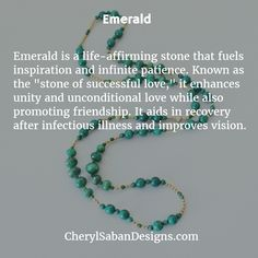 Learn about the healing properties of #Emerald.   #GemstoneMeanings #GemstoneJewelry #Necklace