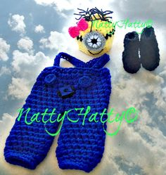 Despicable Me Minion For Girl Crochet Hat Overrall by NattyHatty