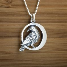 Raven in the Moon  STERLING SILVER by LittleDevilDesigns on Etsy, $18.00