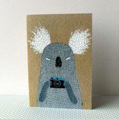 Koala with camera card. $4.00, via Etsy.