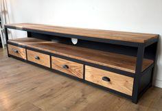 Meuble Tv acier et chêne massif Furniture, Steel Furniture, Metal Furniture Design, Iron Furniture, Oak Tv Stand, Interior Design, Furniture Design, Metal Furniture, Living Room Tv