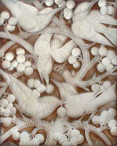 "inland-delta: "" René Lalique, Blackbirds and grapes, glass panel,1928 """