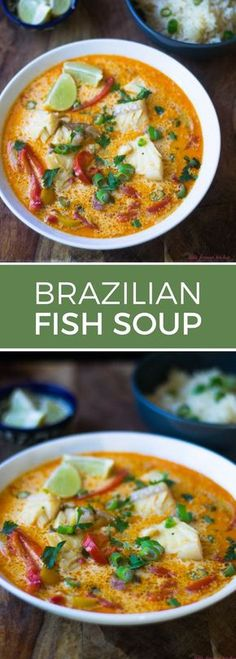 Moqueca Fish Soup - This coconut milk-based soup can be made with any fish you have on hand—shrimp, cod or halibut! -Brazilian Moqueca Fish Soup - This coconut milk-based soup can be made with any fish you have on hand—shrimp, cod or halibut! Fish Dishes, Seafood Dishes, Seafood Recipes, Cooking Recipes, Healthy Recipes, Seafood Pasta, Beef Recipes, Seafood Stew, Family Recipes