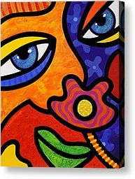 Abstract Faces Painting Canvas Prints - Lilli Lilligrin Canvas Print by Steven Scott