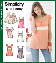 Simplicity 6 Made Easy Pattern 3750 Misses Tunic or Top with Sleeve Variations Sizes Misses top or Tunic Simplicity sewing pattern part of Simplicity Summer 2007 collection. Pattern for 6 looks. Tunic Sewing Patterns, Tunic Pattern, Simplicity Sewing Patterns, Top Pattern, Clothing Patterns, Dress Patterns, Bodice Pattern, Fabric Patterns, Diy Clothing