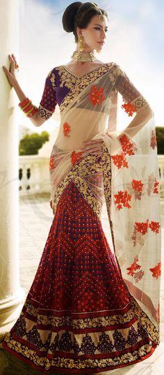 Designer Made #Lehenga #Saree #Design In Net Fabric | @ $168.63