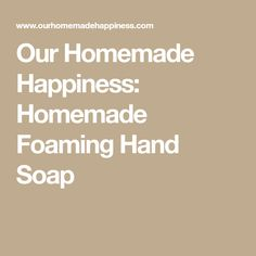 Our Homemade Happiness: Homemade Foaming Hand Soap