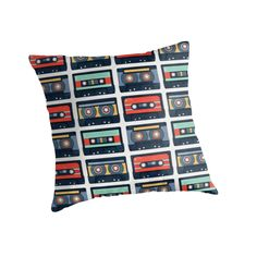 Cassette Tapes Pattern Throw Pillow by AnMGoug on Redbubble. #retro #cassettes #pillow #pattern