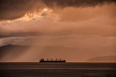 beam me up storm - fabulous storm and light lit up this freighter at sunset in English Bay Shadow Box, Light Up, Beams, Vancouver, English, Clouds, Sunrises, World, Water