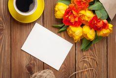 Kwiaty, Bukiet, Tulipany, Kartka, Kawa