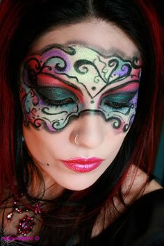Halloween makeup - mask - art - colorful- Make-up Artist Me!: Masked Beauty - Masquerade Costume Makeup Tutorial
