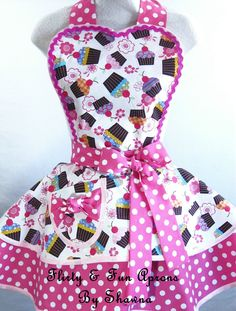 Pink Polka Dots and Cupcakes Apron by sjcnace4 on Etsy, $55.00