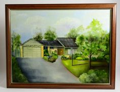 Signed J Urgese Oil Painting Suburbia Home Garden Garden Signs, Art Auction, Home And Garden, Oil, Painting, Painting Art, Paintings, Painted Canvas, Butter