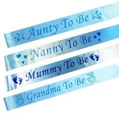 BLUE BABY SHOWER SASHES, Mummy, Nanny, Aunty & Grandma To Be, Boy party sash