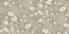 Romey's Garden Silver (311333) - Zoffany Wallpapers - A delicate and contemporary floral trailing wallpaper featuring various flora and fauna, along with small insects. Shown here in cream, brown and green on a metallic silver background. Other colourways are available. Please request a sample for a true colour match. Wide width product.