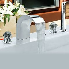 Contemporary Style Chrome Finish Stainless Steel Widespread Bathtub Taps with Handheld Tap Bath Taps, Bathroom Taps, Bathroom Fixtures, Bathtub Faucets, Shower Hose, Bathtub Shower, Waterfall Faucet, Buying Wholesale, Portable