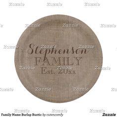 Family Name Burlap Rustic