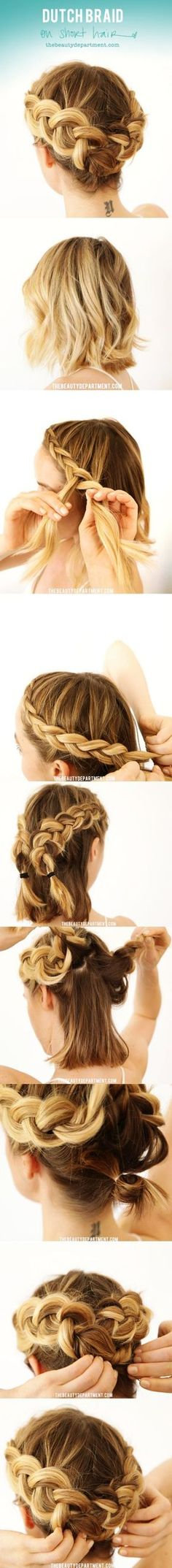 Dutch Braided Crown for Short Hair |||| Quick and Easy Hairstyles for Short Hair | DIY Hairstyles for short Hair | 40 Easy Hairstyles (No Haircuts) for Women with Short Hair – How to Style Short Haircuts