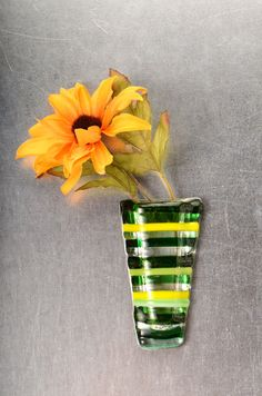 Green and yellow Stripes Pocket vase,  magnetic fused glass vase by Artdefleur on Etsy