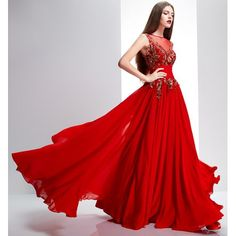 Red Embroidered Pleated Ball Gown Prom Evening Dresses Discount SKU-122085
