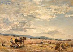 Wingate, James, (1846-1924), Harvest in Arran, Oil