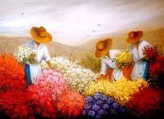 quadro de parede pintura a oleo s/ tela comum