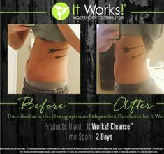 Look at these amazing results in just 2 days with the it works! The cleanse is white pants approved! I cannot wait to try the cle. Itworks Cleanse, Cleanse Me, Weight Loss Cleanse, Detox Before And After, Green Tea Capsules, Fitness Before And After Pictures, Heavy Metal Detox, It Works Distributor, It Works Global