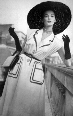 Model in a drawn on Hermès dress for Vogue Paris, 1952.