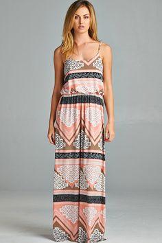 PINK MIX PRINT MAXI DRESS | Shop Trendy Unique Cute Clothes & Dresses | ModMint