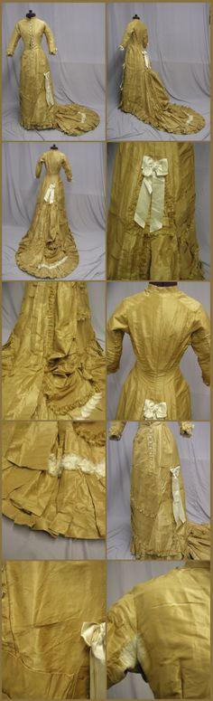 1870's Gold Silk Princess Line Bustle Gown. Ebay: svpmeow1