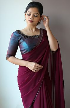 Marooncolour saree with silkblouse blueblouse - Saree Styles Saree Jacket Designs, Half Saree Designs, Saree Blouse Neck Designs, Fancy Blouse Designs, Blouse Neck Models, Trendy Sarees, Stylish Sarees, Fancy Sarees, Simple Sarees
