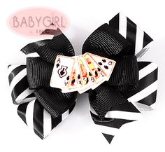 Show your love for poker with this ribbon hair clip.