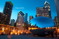 Chicago Bean by kamilagornia.com/art/ #chicago #photography #night
