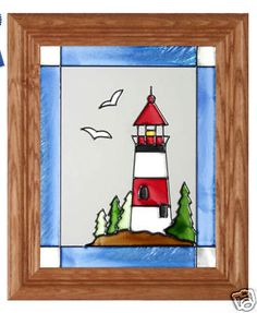 10x12 LIGHTHOUSE Stained Art Glass Framed Wall Suncatcher Panel