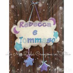 Fiocco nascita in Feltro nuvoletta per due gemellini Rebecca e tommaso