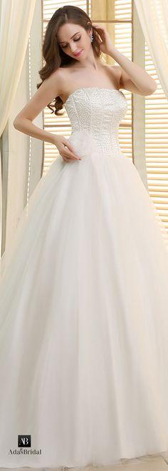 Elegant tulle strapless neckline beaded ball gown wedding dresses(WWD45720)