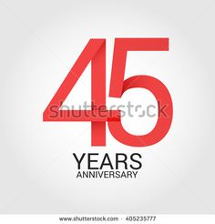 45 years anniversary, signs, symbols. simple design. - stock vector