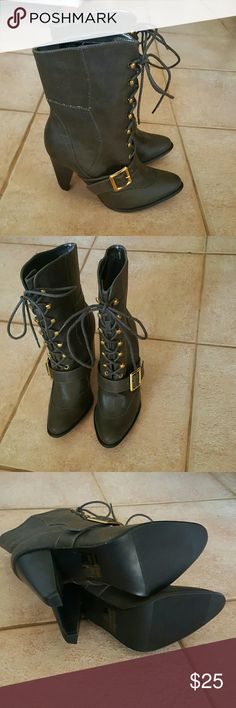 NWOT Taupe military style buckle laceup heel boots Never worn, just sitting in my closet! Shoes Lace Up Boots