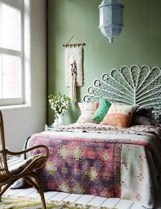 Boho bedroom - love the dusty green wall color! with a glossy white ceiling to make the bathroom seem larger