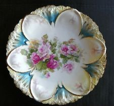 "BEAUTIFUL RS PRUSSIA PLATE, TEAL PINKS GREENS & GOLD EDGING, 8.5"" DIAMETER"