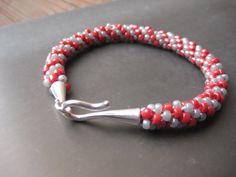Red and Grey Kumihimo Bracelet