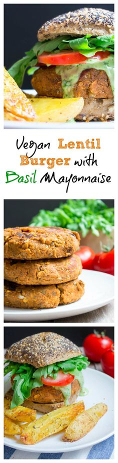 This vegan lentil burger with basil mayonnaise, arugula, and tomatoes is not only super yummy but also healthy. Fast food at its best!