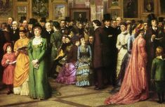 A Private View at the Royal Academy, 1881 is a painting by the English artist William Powell Frith exhibited at the Royal Academy of Arts in London in It depicts a group of distinguished Victorians visiting the Royal Academy Summer Exhibition in 1881 Frank Dicksee, Victorian Era Fashion, Edwardian Era, Victorian Art, Fashion Vintage, Lillie Langtry, Victoria Reign, Queen Victoria, Victorian Paintings