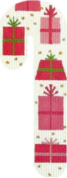 Melissa Shirley Designs | Hand Painted Needlepoint | Presents Candy Cane