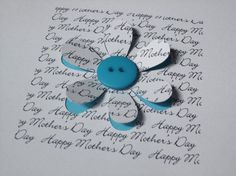 Mother's Day Card-button flower - Paper Cut - Hand Cut - Handmade Greeting Card for Mum - Mom
