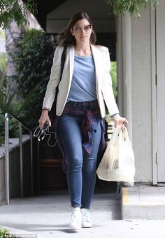 Mom's day out: Jessica Biel looked happy and content while out for an Italian lunch in Santa Monica, CA on Wednesday