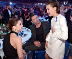 Emma Watson, Hugh Jackman, and Millie Bobby Brown attend the 2017 MTV Movie And TV Awards at The Shrine Auditorium on May 2017 in Los Angeles, California. Millie Bobby Brown, Ted Bundy, Hugh Jackman, Selena Gomez, Browns Fans, Tv Awards, Stranger Things Netflix, Role Models, My Idol
