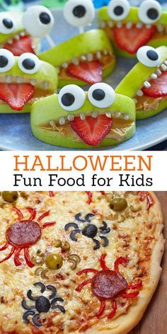 Halloween is my favorite time of the year to make fun food for the kids! There are so many great ideas for making monsters, ghosts and ghouls out of fruit and vegetables. Now is the time to make food fun. Halloween Desserts, Hallowen Food, Recetas Halloween, Halloween Dinner, Halloween Goodies, Halloween Food For Party, Halloween Birthday, Easy Halloween, Halloween Treats